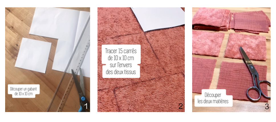 Coudre des lingettes lavables pour bébé Etape 1 :  -Découper un gabarit -Tracer vos carrés sur le tissu -Découper les deux matières