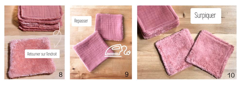 Coudre des lingettes lavables pour bébé Etape 3 :  -Retourner sur l'endroit -Repasser -Surpiquer