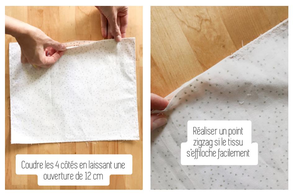 Coudre les 4 côtés du tissu