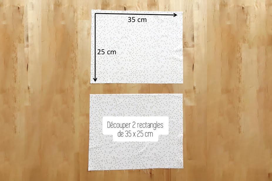 Coupez deux rectangles de tissu