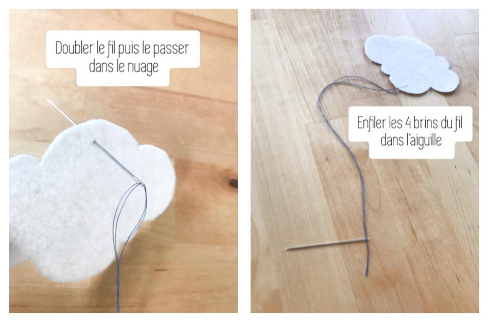 Etape 4 a : Passer le fil dans les nuages