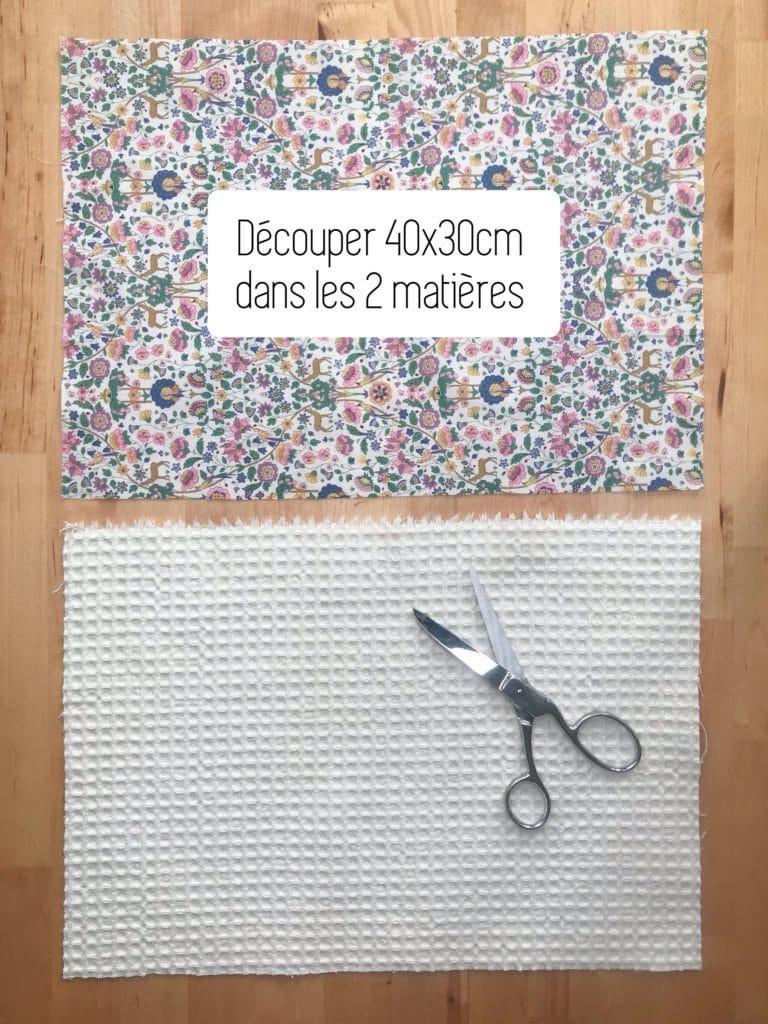 Pour créer votre trousse : Découpez deux rectangles de 40 x 30 cm
