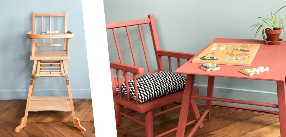 Avant / Après la transformation de la chaise haute Combelle en chais et table pour bébé