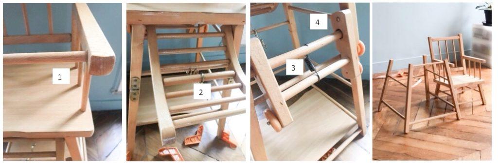 Scier les parties inutilisables de la chaise haute