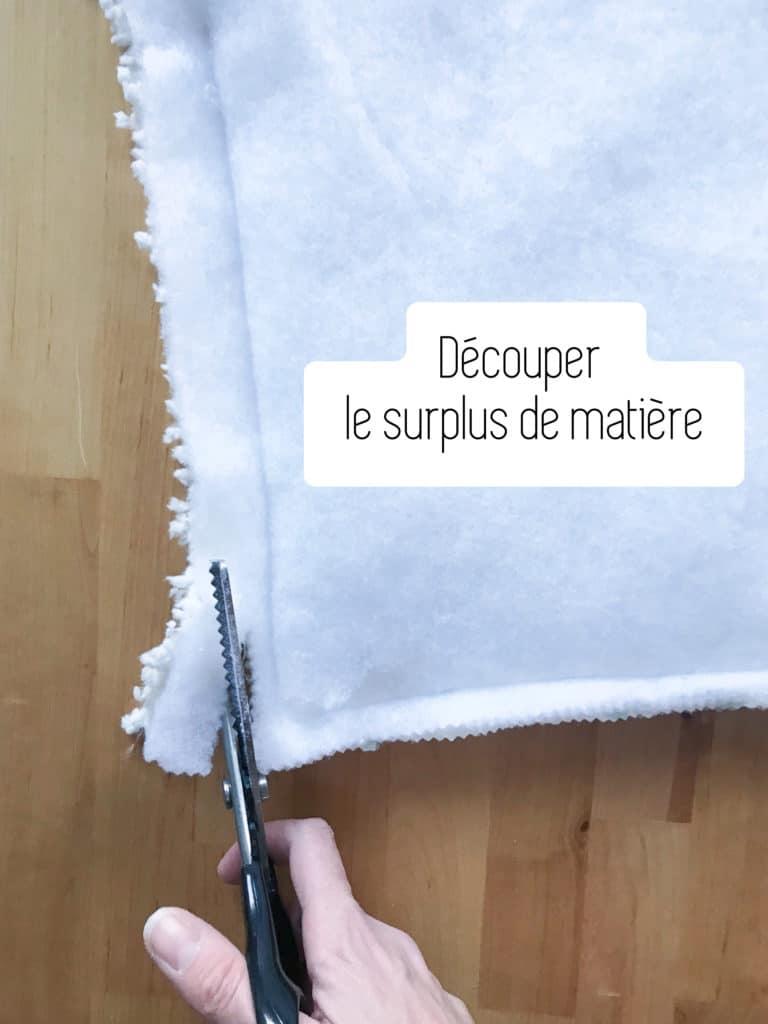 Découper le surplus de matière