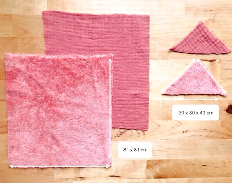 Coupez un rectangle de 81 x 81cm dans la double gaze de coton et dans le tissu éponge