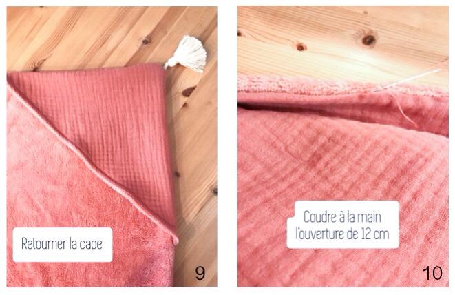 Etape 4 Retourner la cape de bain et finaliser avec une dernière couture